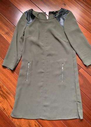 Платье с кожаными вставками h&m