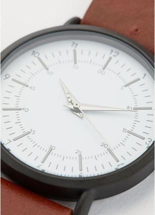 Мужские наручные часы h&m,коричневый кожаный ремешок