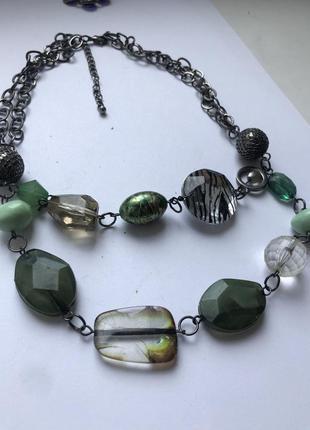 Ожерелье колье италия серебро изумруд бижутерия