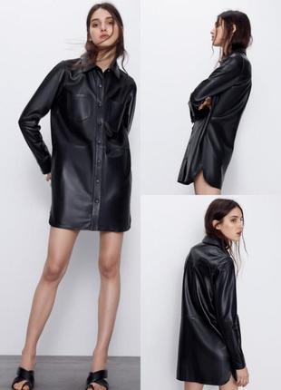 Кожаное платье-рубашка zara черного цвета