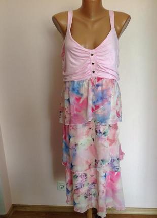 Комбинированное легкое платье/44/brend dolce vita