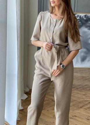 Жіночий комбінезон з льону штани сорочка на гудзики з поясом