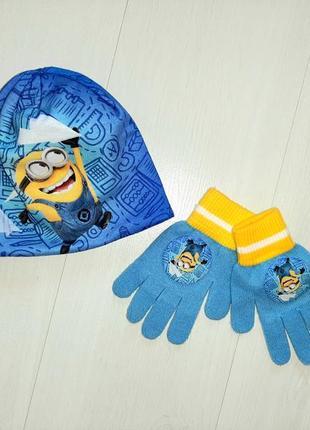 Комплект набор шапка рукавицы тёплая миньоны мальчику