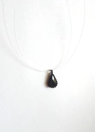 Кулон на леске камень на леске кристалл подвеска украшение на шею чёрный кулон