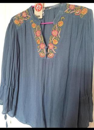 Блуза с вышивкой, вышиванка, свободного кроя, вискоза