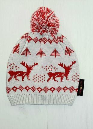 Зимняя шапка теплая олени новогодняя primark