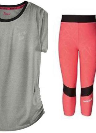 Детский спортивный костюм для физкультуры для девочки футболка лосины