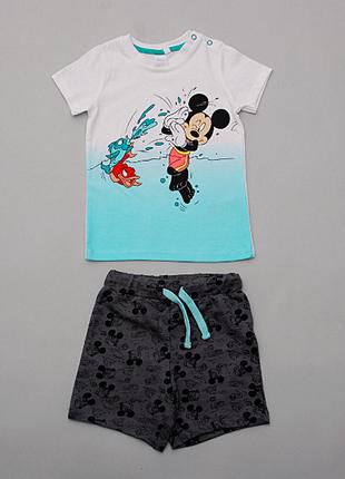 Костюм летний для мальчика микки маус  disney футболка и шорты  pepco