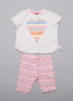 Летний костюм для девочки футболка-топ и капри-шорты pepco польша