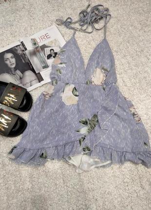 Летний комбинезон с рюшами, юбка шорты в синюю полоску