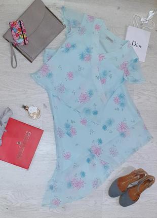 Летний шифоновый костюм блуза и юбка, цветочный принт