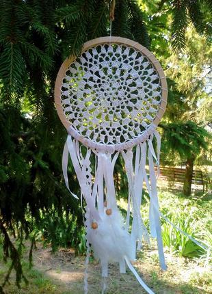 Ловец снов нежность. стиль бохо. ручная работа. диаметр 18 см
