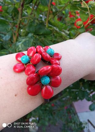 Винтажный браслет с натуральными камнями