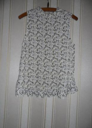Блуза летняя без рукавов  размер 42 // xl  струящаяся ткань  воротник - стойка