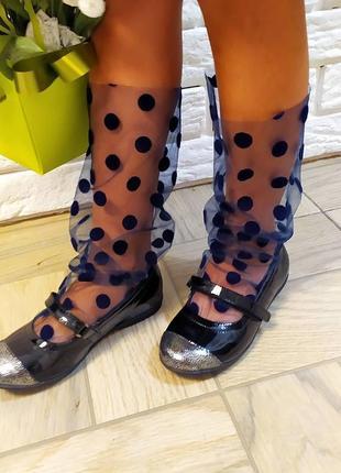 Носочки сеточка горошек синие