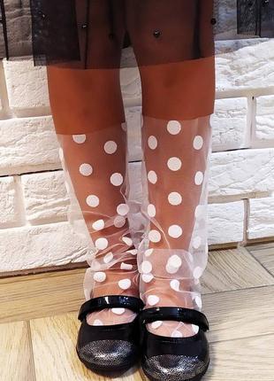 Носочки сеточка горошек белые