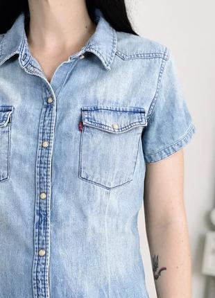 Джинсовая рубашка levis  с коротким рукавом