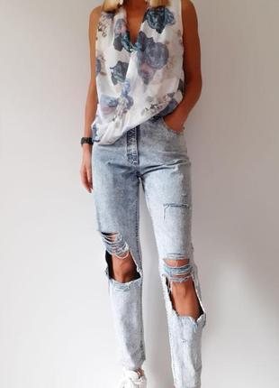 Летняя блуза из воздушного шифона цветочный принт шифоновая блуза с запахом