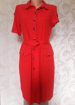 Платье красное100% лен