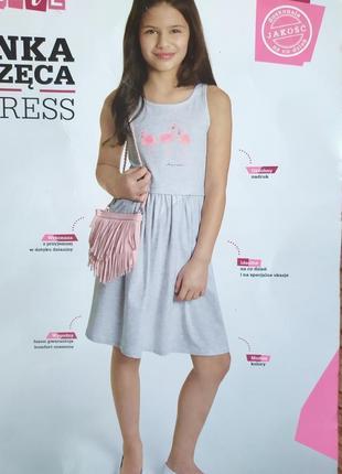 Красивое трикотажное платье с фламинго для девочки-подростка