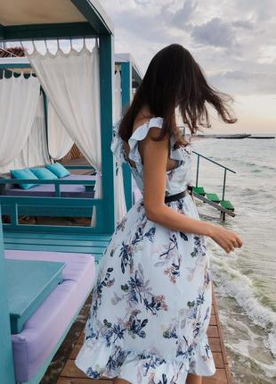 Нежное миди платье принтованое,сарафан принт с воланами
