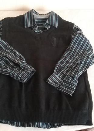 Рубашка с жилеткой matalan на 6-7 лет 100% хлопок