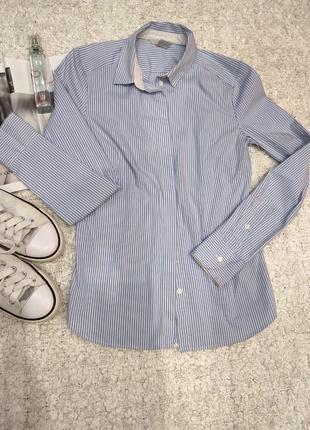 Удлиненная рубашка в синюю полоску