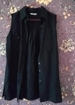 Льняной длинный жилет или блуза