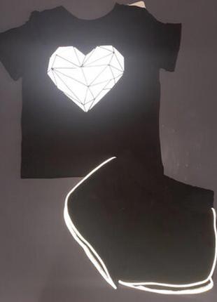 Комплект светоотражающий likee для девочки футболка и шорты