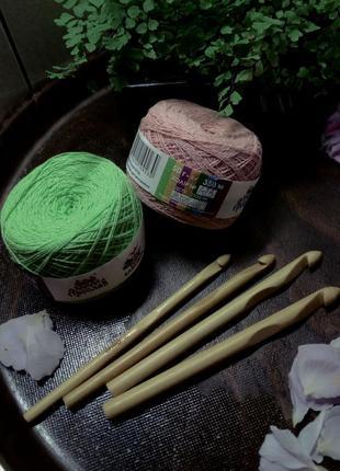 Набор для вязания, нитки хлопок ярослав, крючки бамбук