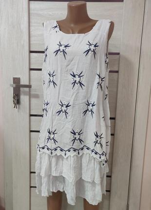 Сарафан платье легкое италия с вышивкой белое и бирюза
