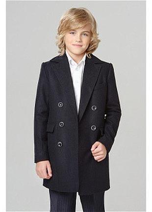 Стильное фирменное темно синее деми пальто для мальчика
