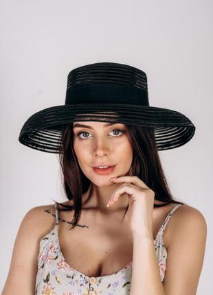 Шляпа черная с полями слауч