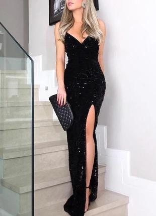 Женское чёрное платье с паетками🖤