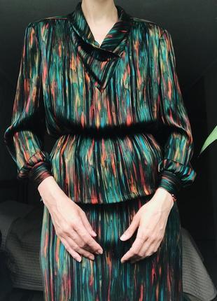 Винтаж яркий нарядный костюм блуза юбка шелк шифон charlet thomaschewski