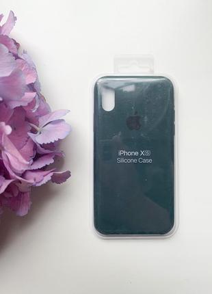 Чехол силиконовый для iphone x/xs silicone case темно зелёного цвета