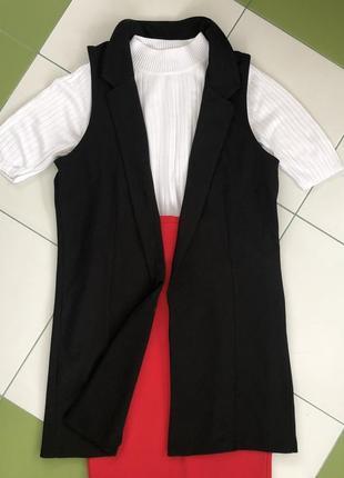 Блейзер кардиган без рукавов накидка пиджак черный