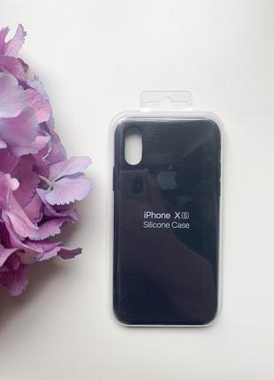 Чехол силиконовый для айфона x/xs silicone case темно синего цвета