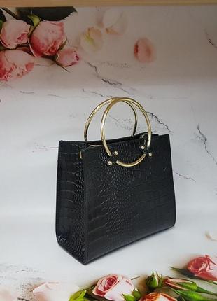 Черная сумка с ручкой кольцом