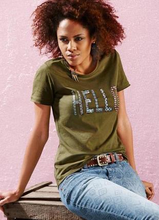 Стильная женская хлопковая футболка от тсм tchibo (чибо), германия, размер xxs-xs