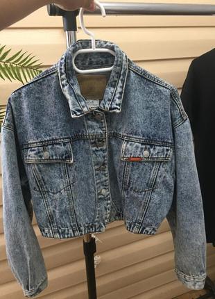 Укороченая оверсайз джинсовка винтаж из плотного котона