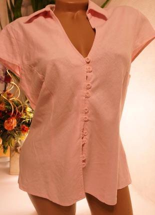 Блуза лен нежно розовая,брендовые вещи, обувь в летней распродаже! 2 вещь-50%