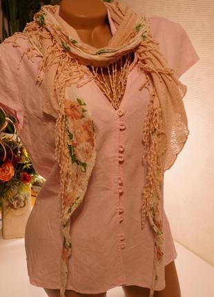 Блуза лен нежно розовая,брендовые вещи, обувь в летней распродаже! 2 вещь-50%3 фото