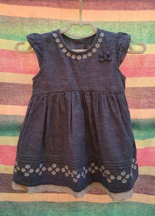 Летнее джинсовое платьице с оборкой из прошвы на девочку 18-24мес, до 92см