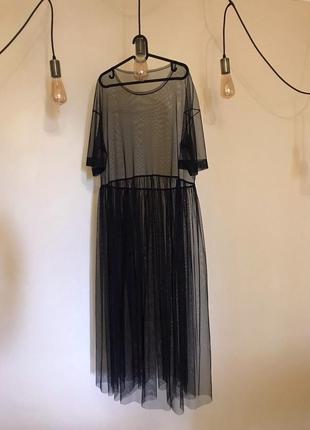 Платье сетка меркурий (+size/mama clothes)