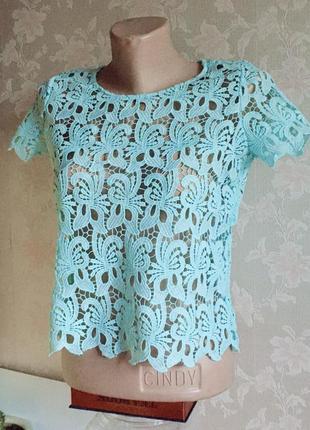 Футболка топ блуза блузка с вырезом с открытой спиной ажурная ажур кружевная zara