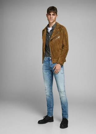 New! кожаная куртка jack & jones ( m-l )