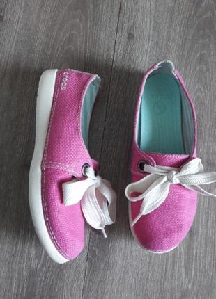 Мокасины crocs оригинал розовые,текстиль натур .внутри и снаружи размер 36