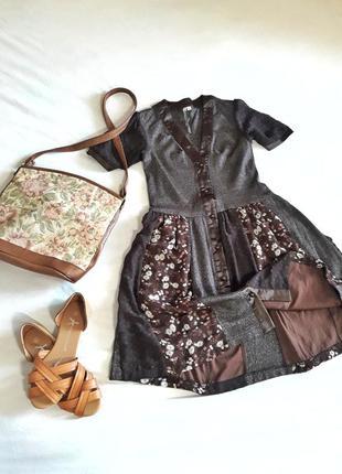 Коричневое платье  с цветочным принтом юбка сонце флакон