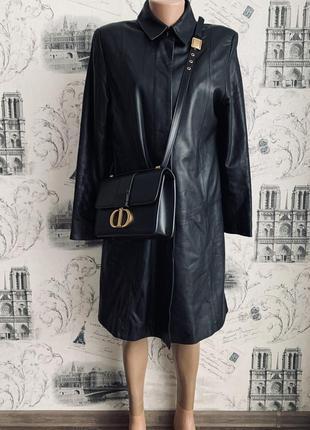 Стильный кожаный плащ/куртка/удлинённый пиджак . натуральная кожа